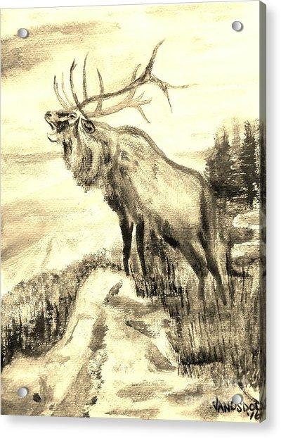 Big Elk Mountain - Sepia Acrylic Print