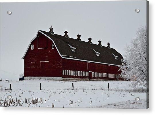 Big Red Barn In The Winter Acrylic Print