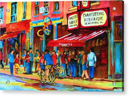 Biking Past The Deli Acrylic Print