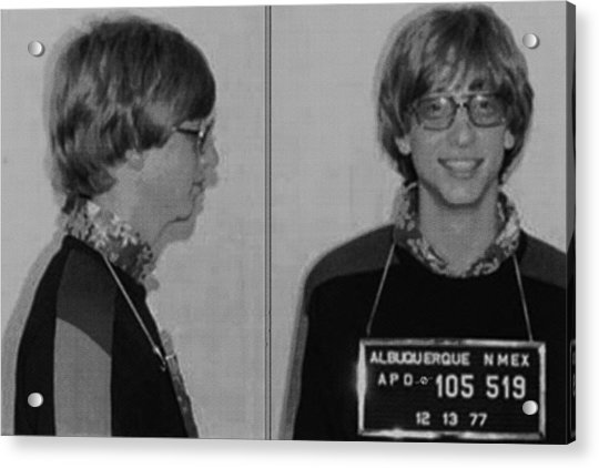 Bill Gates Mug Shot Horizontal Black And White Acrylic Print