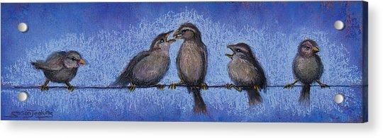 Bird Babies On A Wire Acrylic Print