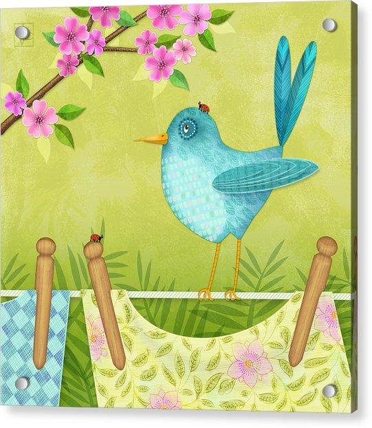 Bird On Clothesline Acrylic Print