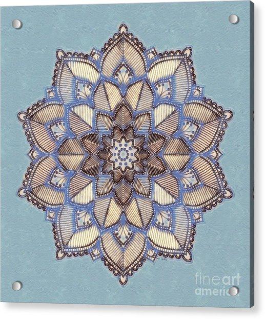 Blue And White Mandala Acrylic Print