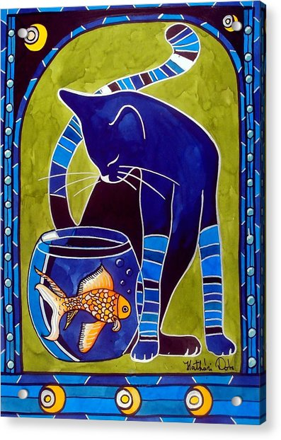 Blue Cat With Goldfish Acrylic Print