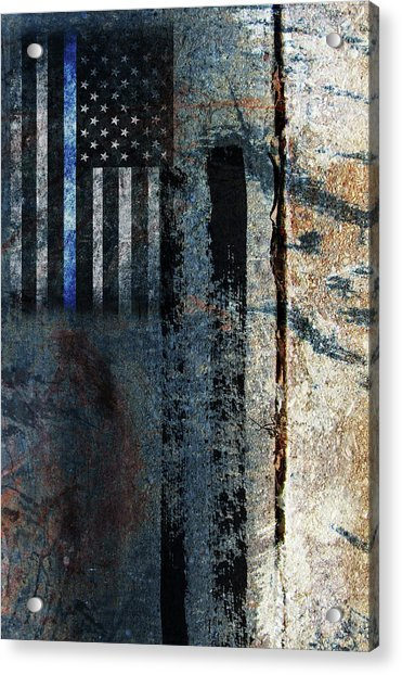 Blue Cop Trio Abstract #1 Acrylic Print
