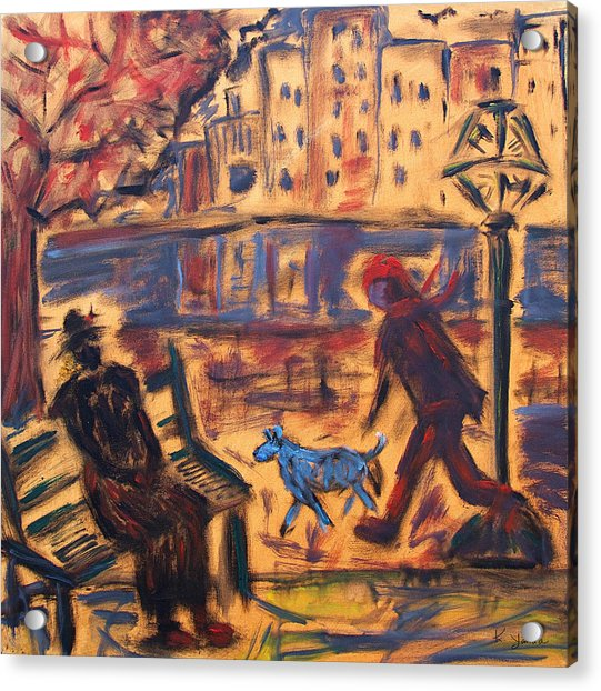 Blue Dog In The City Acrylic Print