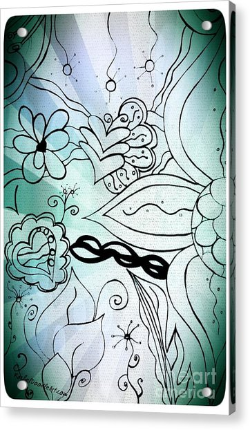 Acrylic Print featuring the drawing Blue Funky Flower Doodles by Rachel Maynard