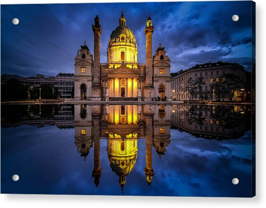 Acrylic Print featuring the photograph Blue Hour At Karlskirche by Kevin McClish