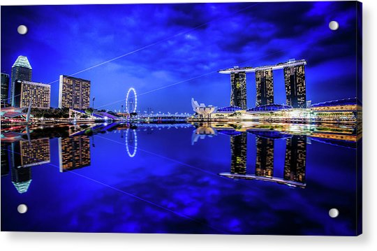 Acrylic Print featuring the digital art Blue Hour At Marina Bay by Kevin McClish