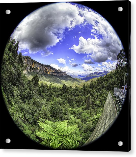 Blue Mountains Fisheye Acrylic Print