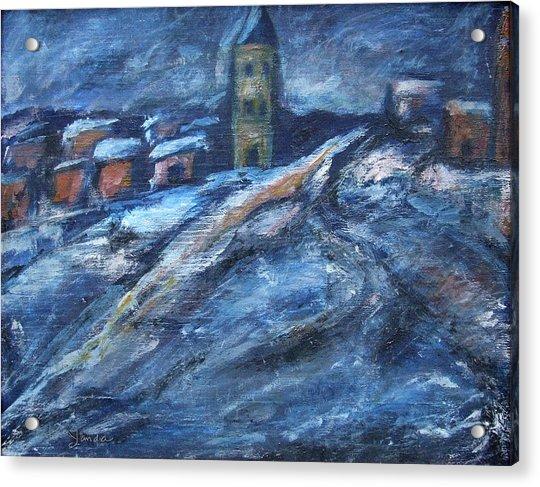 Blue Snow City Acrylic Print
