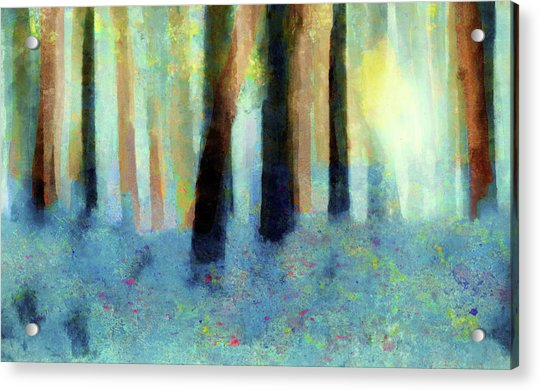 Acrylic Print featuring the painting Bluebell Wood By V.kelly by Valerie Anne Kelly