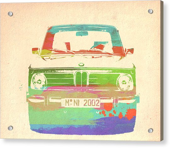 Bmw 2002 Front Watercolor 3 Acrylic Print