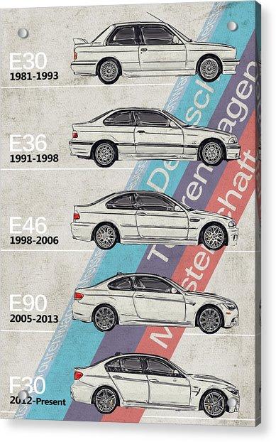 Bmw - Bmw, M3 Generations - Timeline Acrylic Print