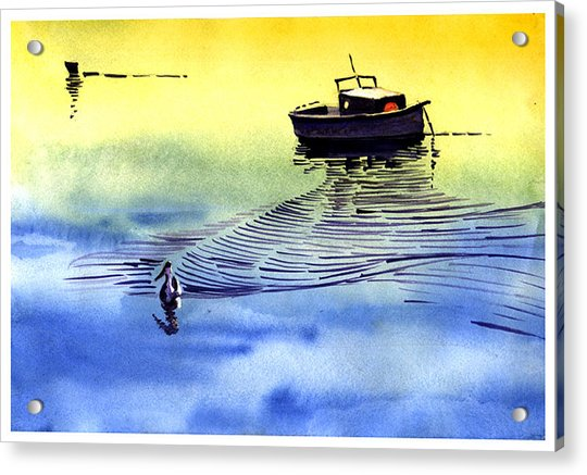 Boat And The Seagull Acrylic Print