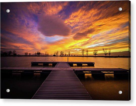 Boat Dock Sunset Acrylic Print