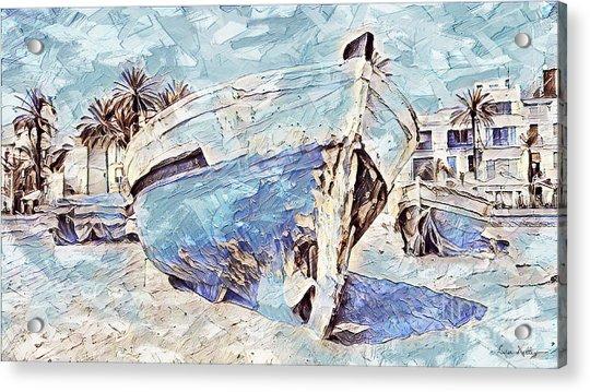 Boat On Sand Of A Beach Shore Acrylic Print