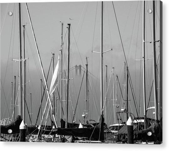 Boats And A Bridge On The Bay Acrylic Print