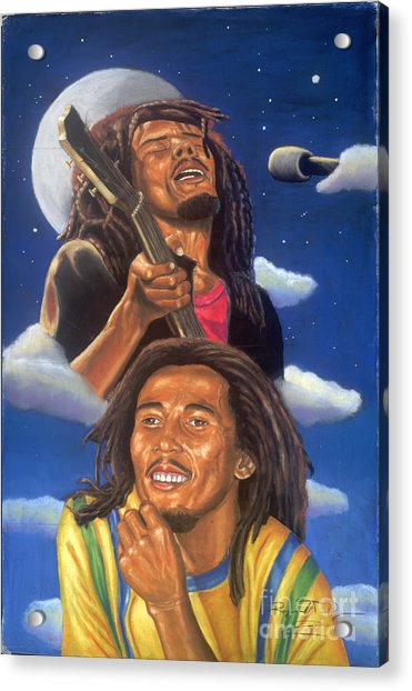 Bob Marley A Reflection Of  His Music Acrylic Print by Sandra Pryer