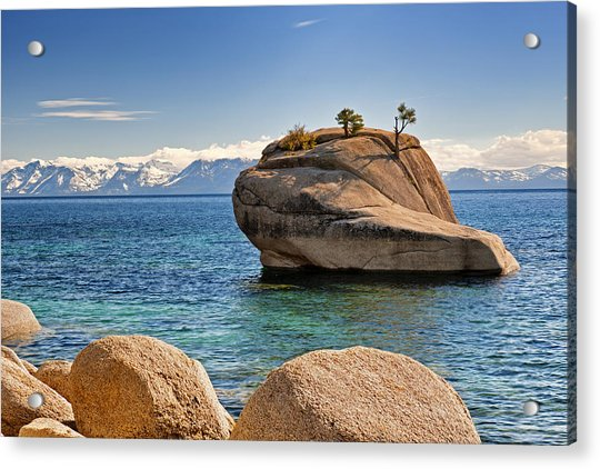 Bonsai Rock At Lake Tahoe Acrylic Print