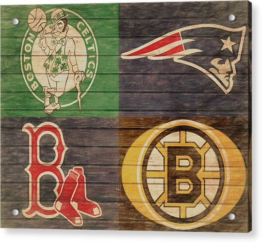 Boston Sports Teams Barn Door Acrylic Print