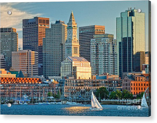 Boston Sunset Sail Acrylic Print