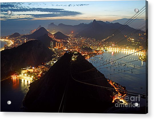 Acrylic Print featuring the photograph Brasil,rio De Janeiro,pao De Acucar,viewpoint,panoramic View,copacabana At Night by Juergen Held