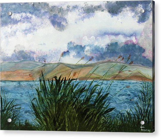 Brewing Storm Over Lake Watercolor Painting Acrylic Print