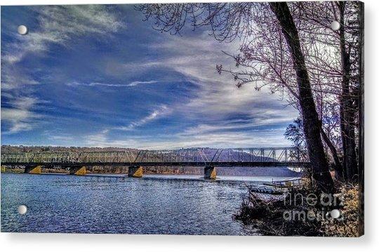 Bridge Over The Delaware River In Winter Acrylic Print