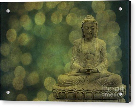 Buddha Light Gold Acrylic Print