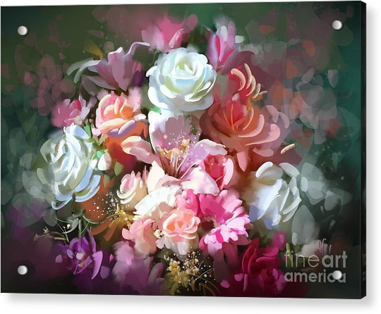 Acrylic Print featuring the painting Bunch Of Roses by Tithi Luadthong