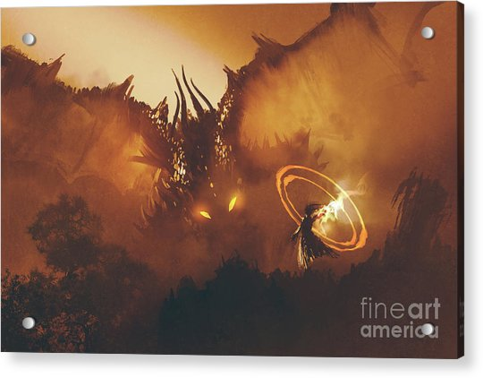 Acrylic Print featuring the painting Calling Of The Dragon by Tithi Luadthong