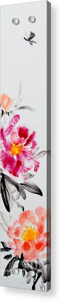 Camellia And Butterfly Acrylic Print