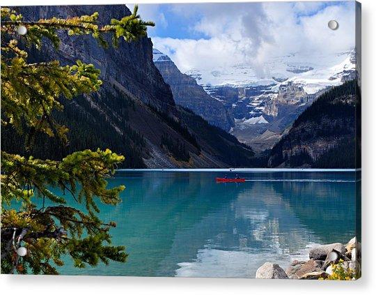 Canoe On Lake Louise Acrylic Print