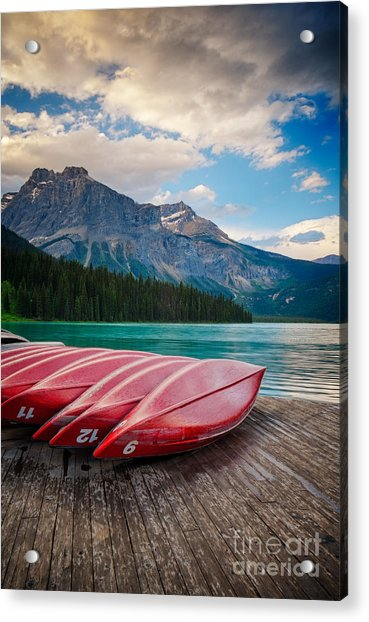 Canoes At Emerald Lake In Yoho National Park Acrylic Print