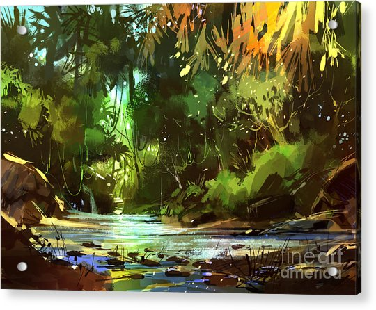 Acrylic Print featuring the painting Cascades In Forest by Tithi Luadthong