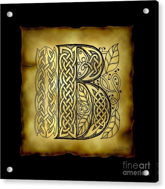 Celtic Letter B Monogram Acrylic Print