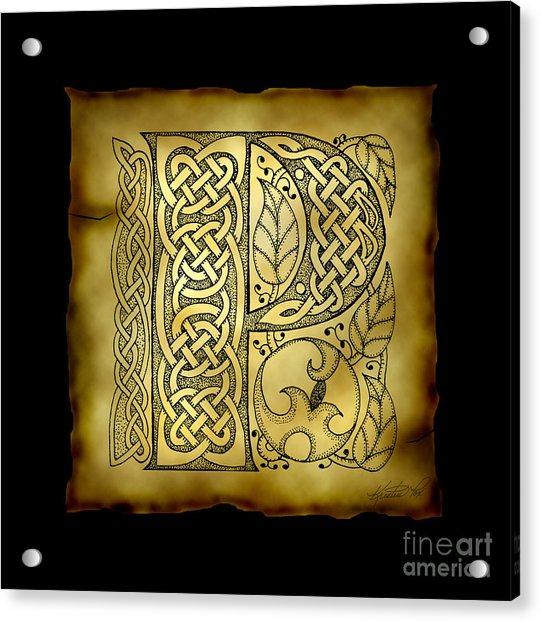 Celtic Letter P Monogram Acrylic Print