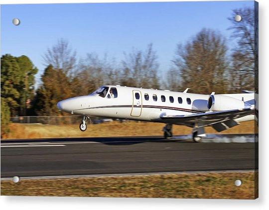 Acrylic Print featuring the photograph Cessna Citation Touchdown by Jason Politte