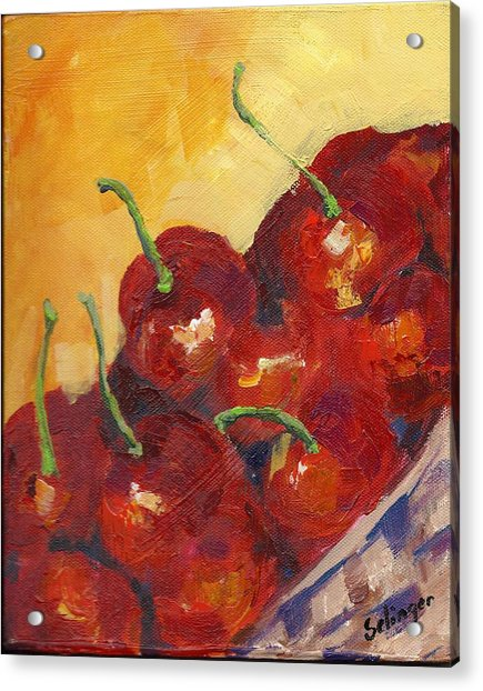 Cherries In A Basket Acrylic Print