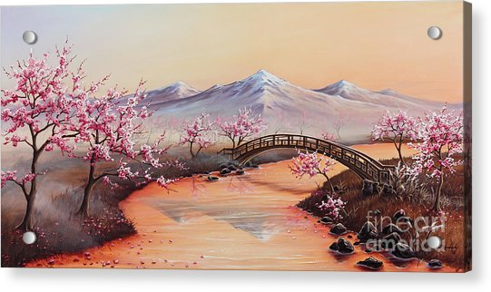 Cherry Blossoms In The Mist - Revisited Acrylic Print