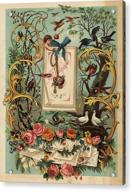 Cherubs, Doves, And Foliage In Outdoor Acrylic Print by Gillham Studios