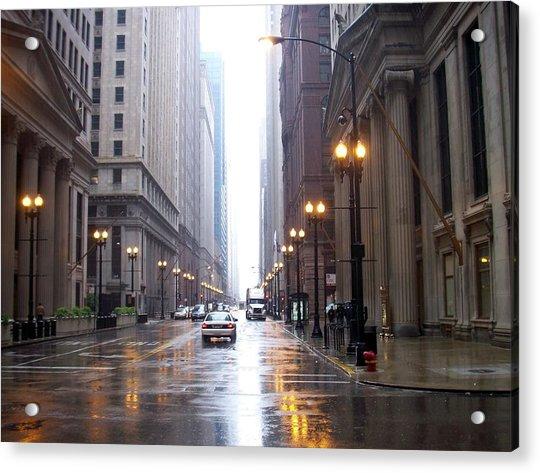 Chicago In The Rain Acrylic Print