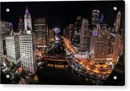 Chicago Night Live - Pano Acrylic Print