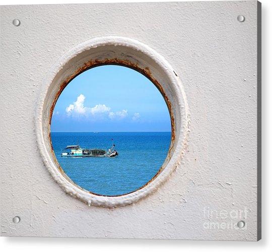 Chinese Fishing Boat Seen Through A Porthole Acrylic Print