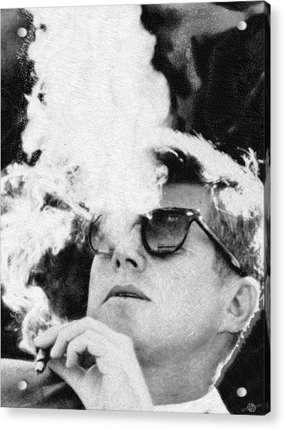 Cigar Smoker Cigar Lover Jfk Gifts Black And White Photo Acrylic Print
