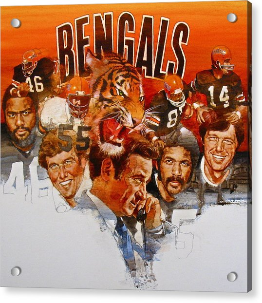 Acrylic Print featuring the painting Cincinnati Bengals by Cliff Spohn