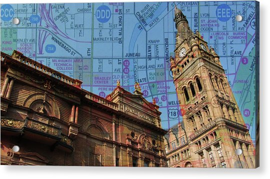 City Hall And Pabst Theater Rooflines W Map Acrylic Print