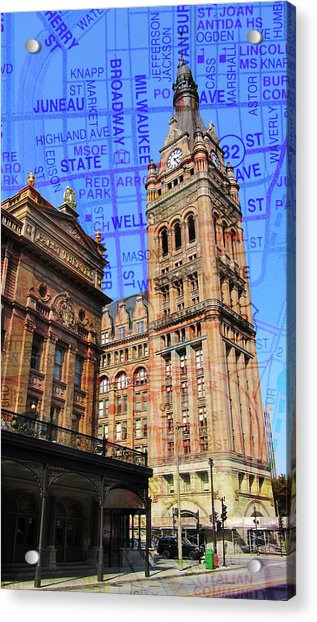 City Hall And Pabst Theater W Map Acrylic Print