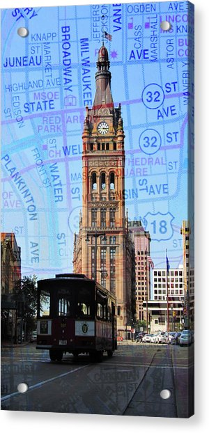 City Hall And Trolley W Map Acrylic Print
